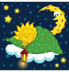 sun sleeping on cloud vector image