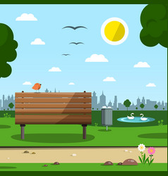 Sunny day in park with town silhouette empty vector