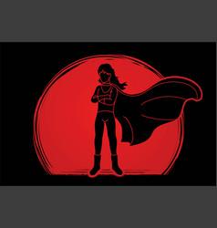 Super hero woman standing with costume cartoon vector