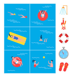 Swimming pool activity icons vector