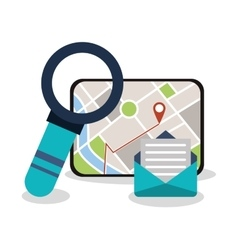 Tablet and gps map design vector image