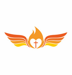 The cross of jesus fire and wings vector