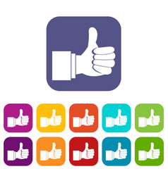 Thumb up gesture icons set vector