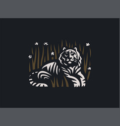 tiger lies in the grass vector image