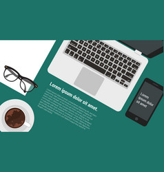 Top view flat design office workspace vector