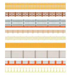 varieties fences set long wood and welded iron vector image