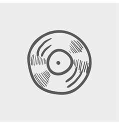 Vinyl disc sketch icon vector