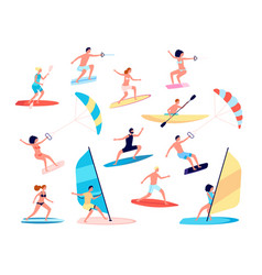 water sports canoes extreme sea lifestyle vector image
