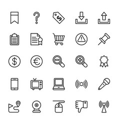 Web and mobile ui line icons 8 vector