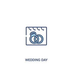 Wedding day concept 2 colored icon simple line vector