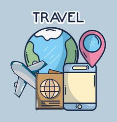 world plane smartphone pointer location passport vector image