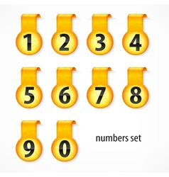 Yellow round numbers on vector