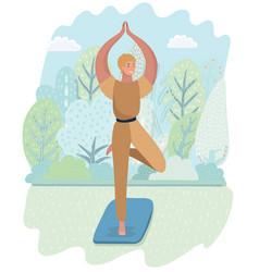 Yoga time in autumn park card vector