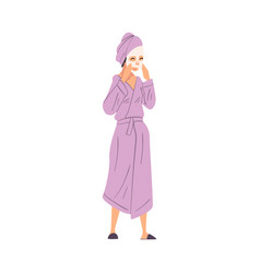 young woman in bathrobe with cosmetic face mask vector image