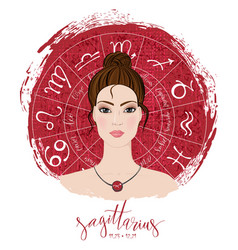 Zodiac signs sagittarius in image of beauty girl vector
