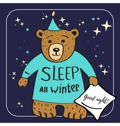 Brown Bear Cartoon Character Sleep all winter vector image