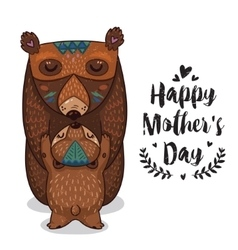 Card for Mothers Day with bears vector image vector image
