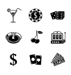 Casino gambling monochrome icons set with - dice vector image vector image
