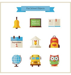 Flat Back to School and Science Objects Set vector image