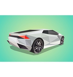 Grey sport car on green background - polygonal vector image