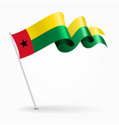 guinea-bissau pin wavy flag vector image vector image