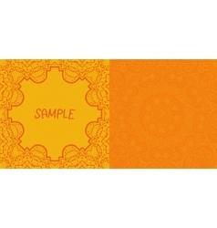 Invitation card design Ornamental orange flyer Art vector image