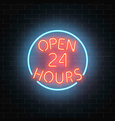 neon open 24 hours sign on a brick wall vector image