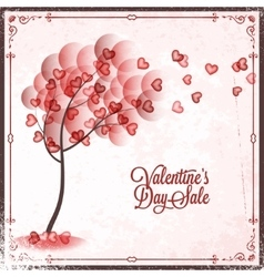 Valentines Day Sale Vintage card Background vector image