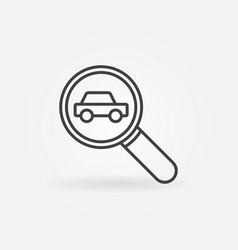 car in magnifying glass icon vector image vector image