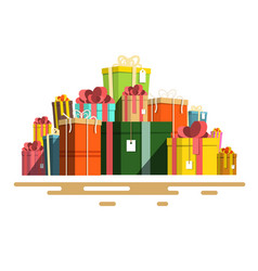 flat design paper gift boxes pile retro present vector image vector image