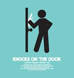 Graphic of single man knocks on the door vector