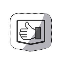 monochrome sticker silhouette of pixel hand vector image