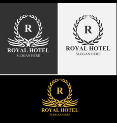 royal hotel logo set vector image vector image
