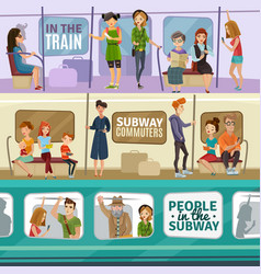 subway people banners set vector image vector image