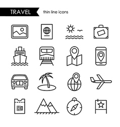 Travel and vacation thin line icon set vector