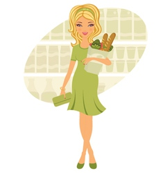Young woman shopping for grocery vector image vector image