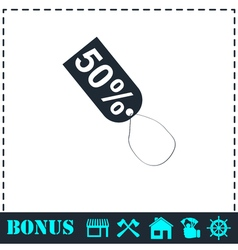 50 percent discount icon flat vector