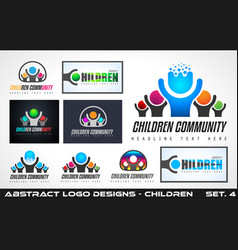 collection fo creative children community logo vector image