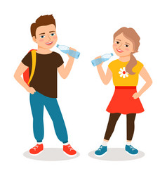 kids drinking water vector image vector image