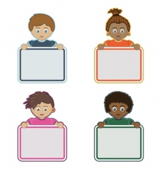 kids holding signs vector image vector image