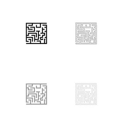 labyrinth maze conundrum black and grey set icon vector image