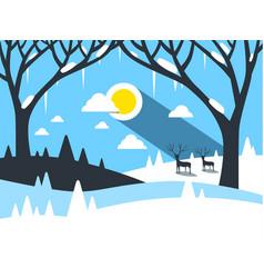 winter flat design landscape vector image