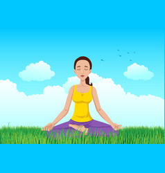 woman meditating on grass field vector image