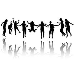 Group of children silhouette jumping vector image vector image