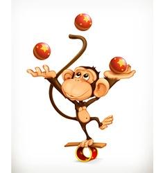 Monkey juggler circus performer character vector image vector image
