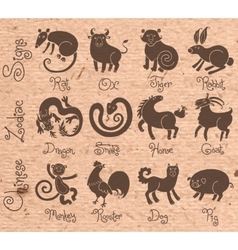 or icons of all twelve Chinese zodiac animals vector image vector image