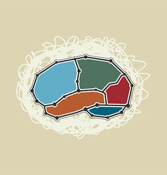 Abstract brain symbol retro style vector