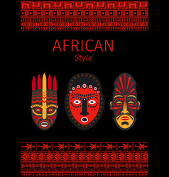 African style red borders and mask vector