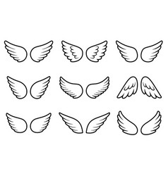 angels wings set isolated on white background vector image