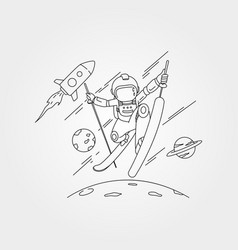 Astronaut ski on space with planet and rocket vector